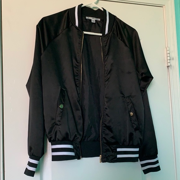 7bac23bf6 Say What? Jackets & Coats | Black With White Stripes Bomber Jacket ...